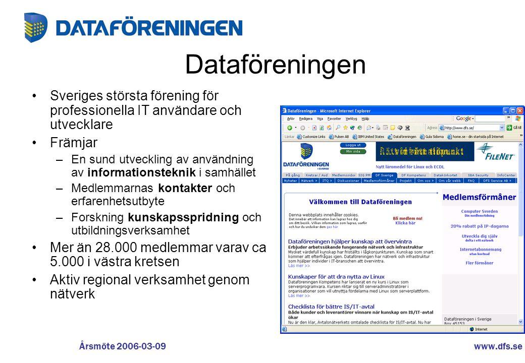 www.dfs.se Årsmöte 2006-03-09 Dataföreningen – för Kunskaper och Kontakter Exempel •IT Management •Verksamhetsutveckling •IT för Vård och Omsorg •Affärssystem •Usability •Säkerhet •Projektstyrning •ITQ •ITLL •After Work •Möt medlemmar i våra idédrivna nätverk