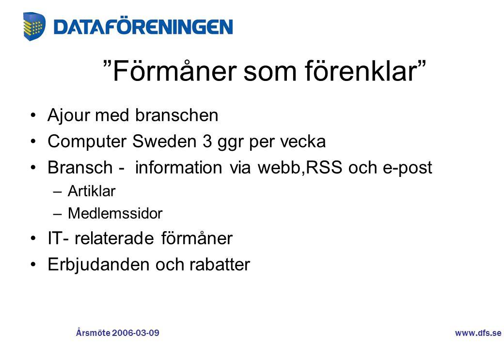www.dfs.se Årsmöte 2006-03-09 Dataföreningen i Sverige Organisationen –Förening •Kretsar •Avdelningar –Bolag •Europeiska Datakörkortet •SBA •DF Certifiering