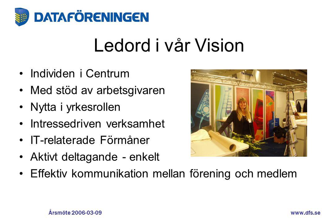www.dfs.se Årsmöte 2006-03-09 Ledord i vår Vision •Individen i Centrum •Med stöd av arbetsgivaren •Nytta i yrkesrollen •Intressedriven verksamhet •IT-