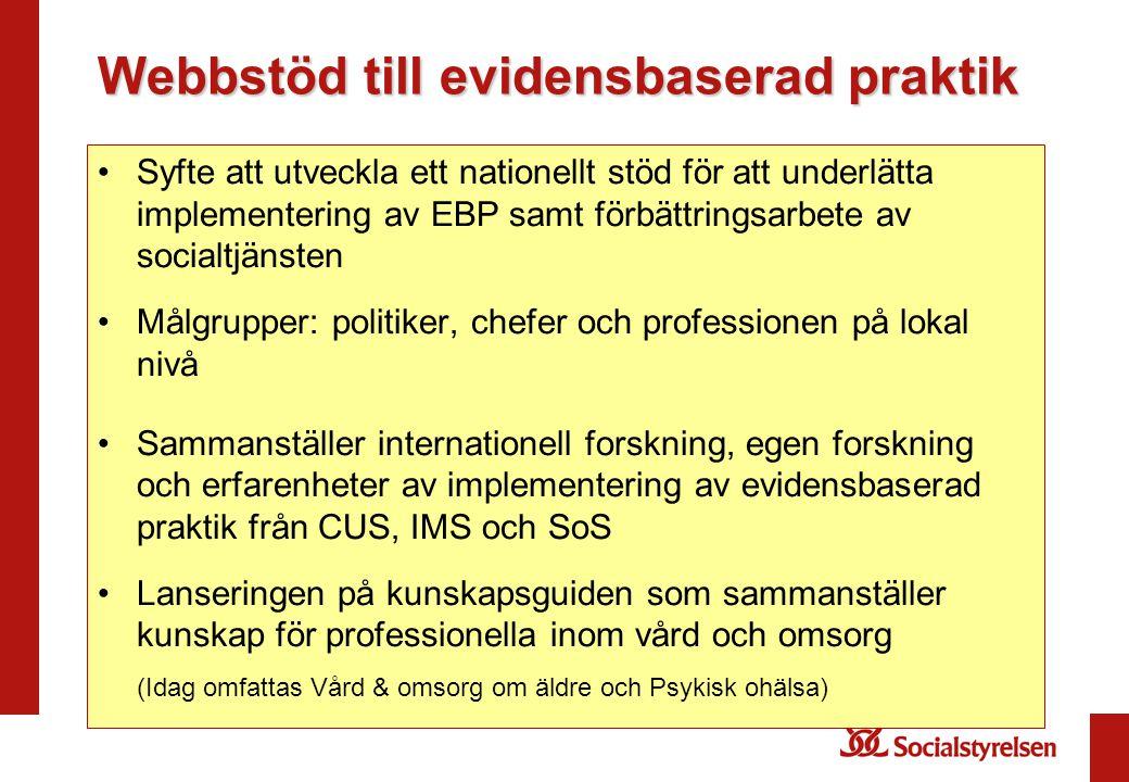 Webbstöd till evidensbaserad praktik •Syfte att utveckla ett nationellt stöd för att underlätta implementering av EBP samt förbättringsarbete av socia