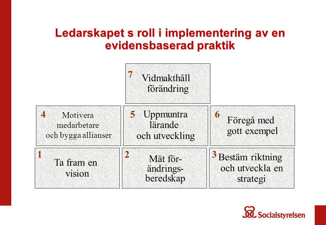 Ledarskapet s roll i implementering av en evidensbaserad praktik Motivera medarbetare och bygga allianser 4 Bestäm riktning och utveckla en strategi V