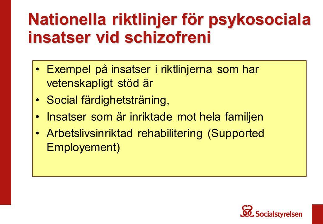 Nationella riktlinjer för psykosociala insatser vid schizofreni •Exempel på insatser i riktlinjerna som har vetenskapligt stöd är •Social färdighetstr
