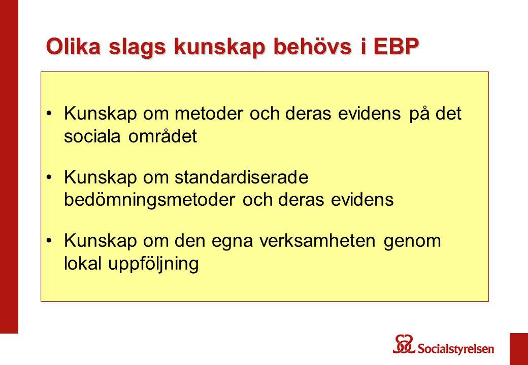 Olika slags kunskap behövs i EBP •Kunskap om metoder och deras evidens på det sociala området •Kunskap om standardiserade bedömningsmetoder och deras