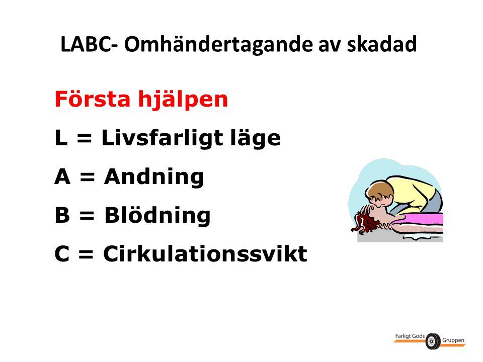 LABC- Omhändertagande av skadad Första hjälpen L = Livsfarligt läge A = Andning B = Blödning C = Cirkulationssvikt