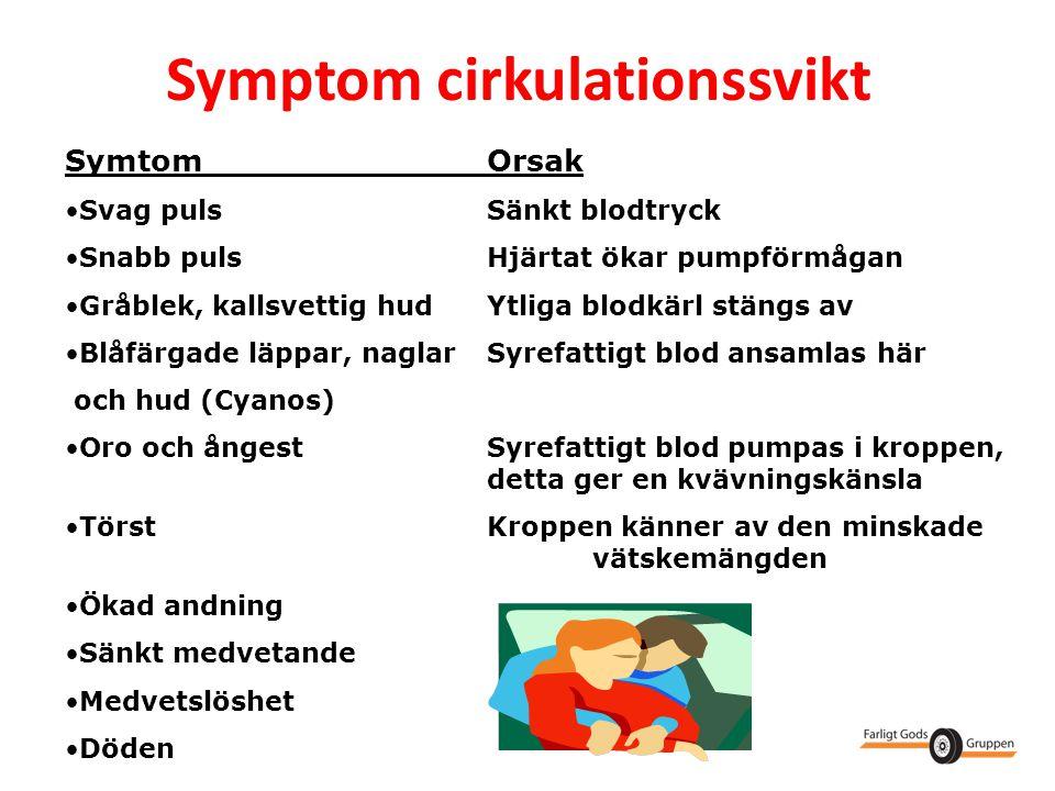 Symptom cirkulationssvikt SymtomOrsak •Svag pulsSänkt blodtryck •Snabb pulsHjärtat ökar pumpförmågan •Gråblek, kallsvettig hudYtliga blodkärl stängs a