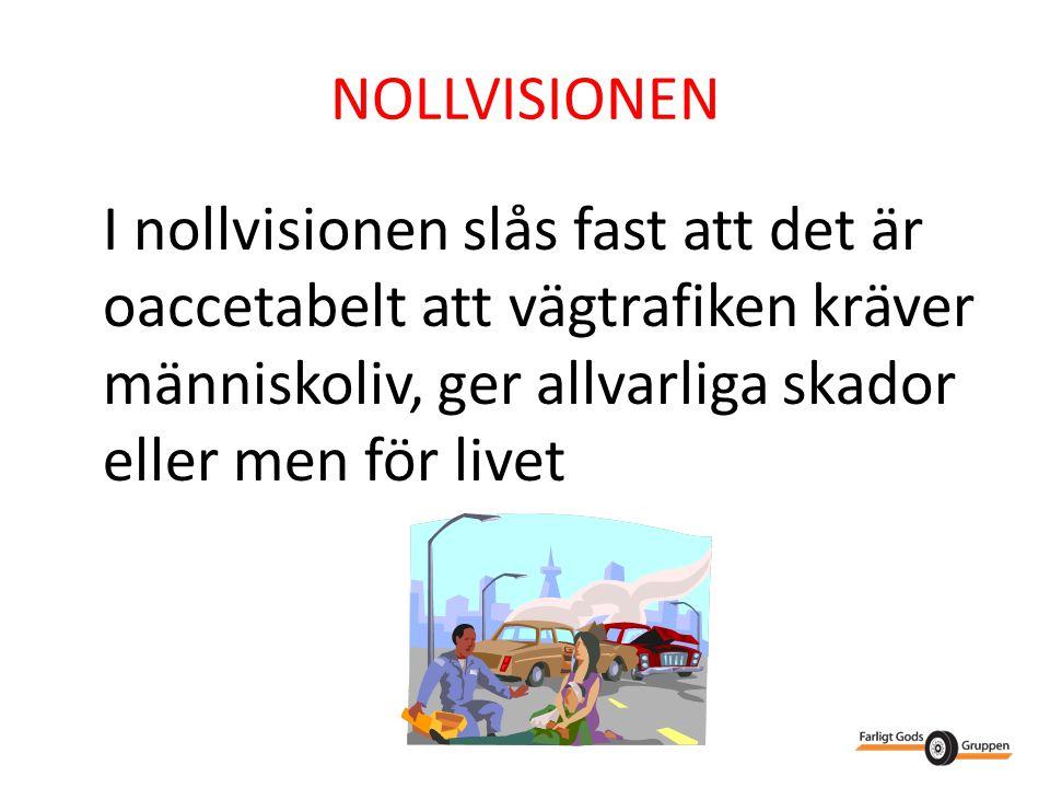 NOLLVISIONEN I nollvisionen slås fast att det är oaccetabelt att vägtrafiken kräver människoliv, ger allvarliga skador eller men för livet