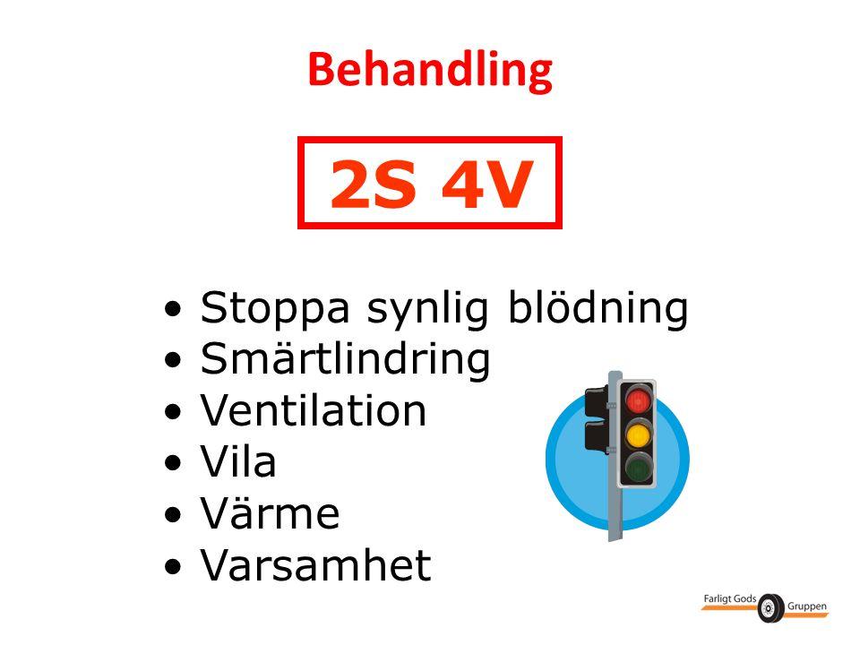 Behandling • Stoppa synlig blödning • Smärtlindring • Ventilation • Vila • Värme • Varsamhet 2S 4V
