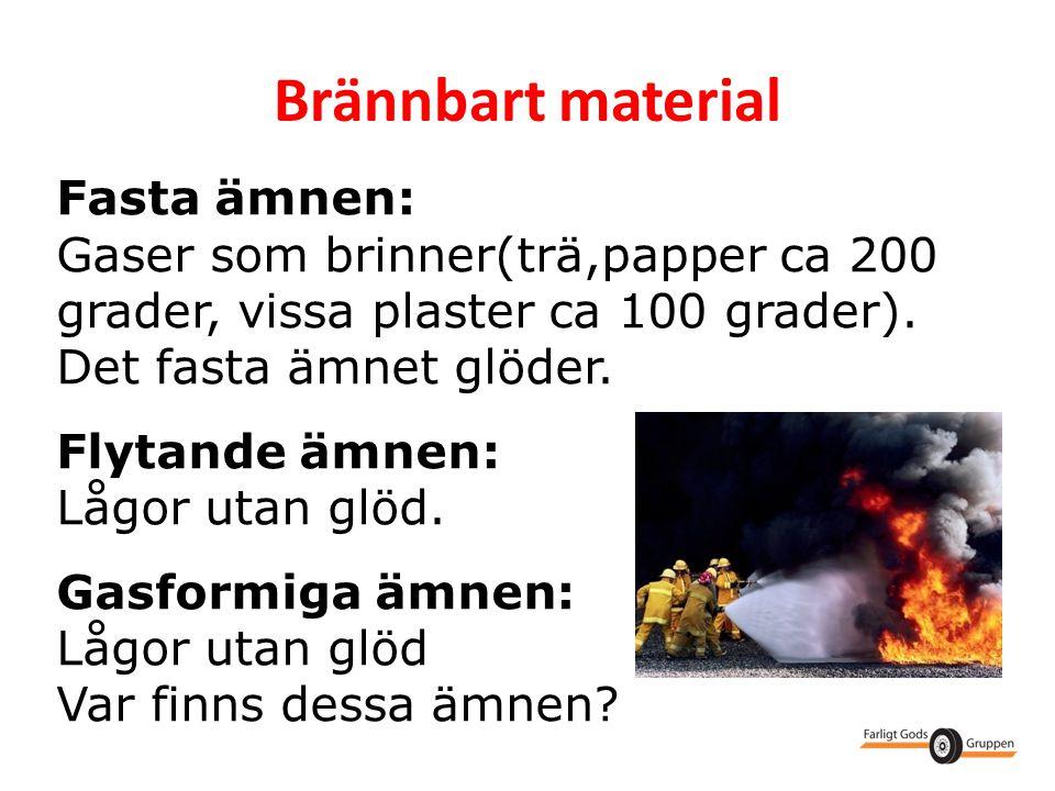 Brännbart material Fasta ämnen: Gaser som brinner(trä,papper ca 200 grader, vissa plaster ca 100 grader). Det fasta ämnet glöder. Flytande ämnen: Lågo