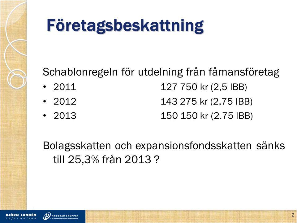 Företagsbeskattning Schablonregeln för utdelning från fåmansföretag • 2011127 750 kr (2,5 IBB) • 2012143 275 kr (2,75 IBB) • 2013150 150 kr (2.75 IBB) Bolagsskatten och expansionsfondsskatten sänks till 25,3% från 2013 .