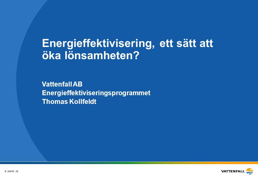 © Vattenfall AB 22 Goda exempel Tillverkar sågade produkter och faner av ljusa nordiska trädslag Lönsamma åtgärder har sedan genomförts och minskat elbehovet med 50 % och värmebehovet med 40 % Exempel på åtgärder sedan 2001Besparing i MWh Effektivisering av belysning25 Konvertering av elvärme400 Stänga av en flistugg25 Byte av kompressor50 Exempel: Bohmans fanerfabrik Källa: Regionkontor Sydost Åtgärder: • Startskott för effektiviseringsarbete var genomförandet av en energianalys