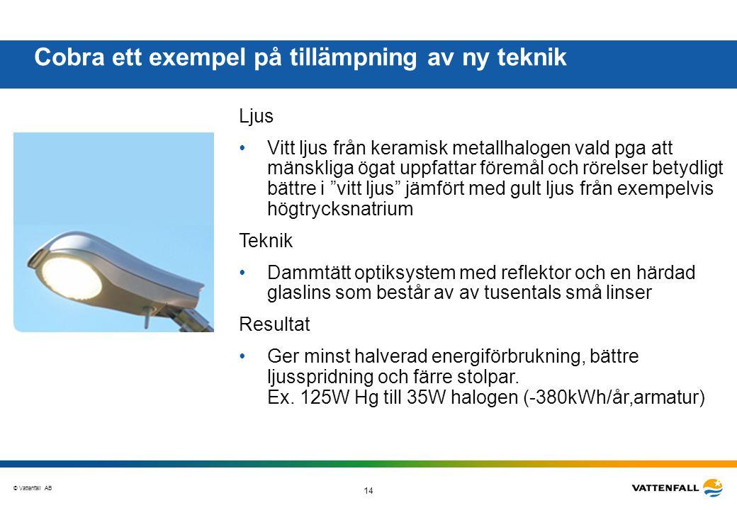 © Vattenfall AB 14 Cobra ett exempel på tillämpning av ny teknik Ljus •Vitt ljus från keramisk metallhalogen vald pga att mänskliga ögat uppfattar för