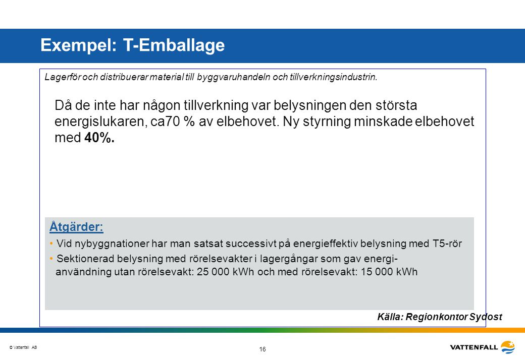 © Vattenfall AB 16 Goda exempel Lagerför och distribuerar material till byggvaruhandeln och tillverkningsindustrin. Då de inte har någon tillverkning