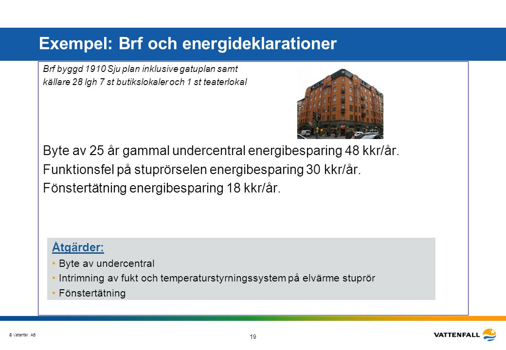 © Vattenfall AB 19 Goda exempel Brf byggd 1910 Sju plan inklusive gatuplan samt källare 28 lgh 7 st butikslokaler och 1 st teaterlokal Byte av 25 år g