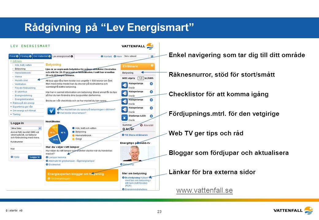 """© Vattenfall AB 23 Rådgivning på """"Lev Energismart"""" Enkel navigering som tar dig till ditt område Räknesnurror, stöd för stort/smått Bloggar som fördju"""