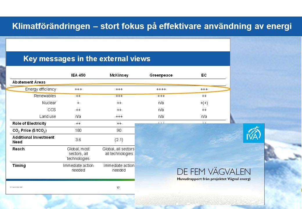 © Vattenfall AB 3 Klimatförändringen – stort fokus på effektivare användning av energi