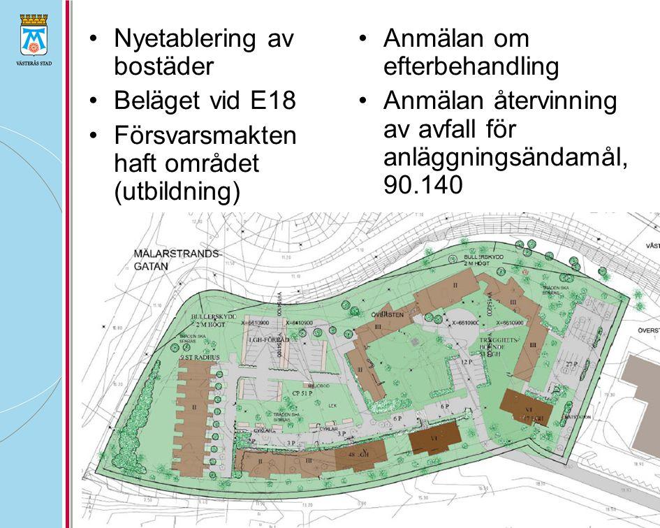•Nyetablering av bostäder •Beläget vid E18 •Försvarsmakten haft området (utbildning) •Anmälan om efterbehandling •Anmälan återvinning av avfall för anläggningsändamål, 90.140