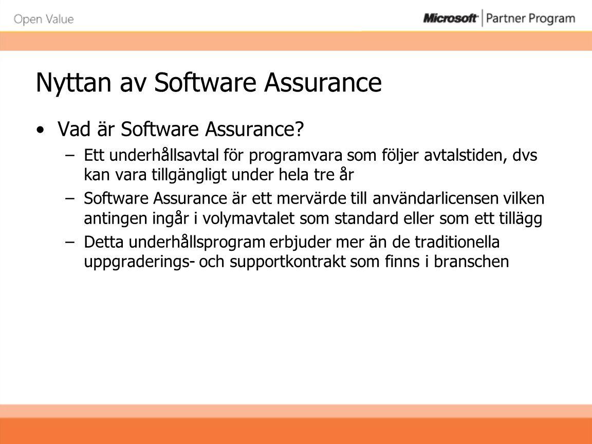 Nyttan av Software Assurance •Vad är Software Assurance? –Ett underhållsavtal för programvara som följer avtalstiden, dvs kan vara tillgängligt under