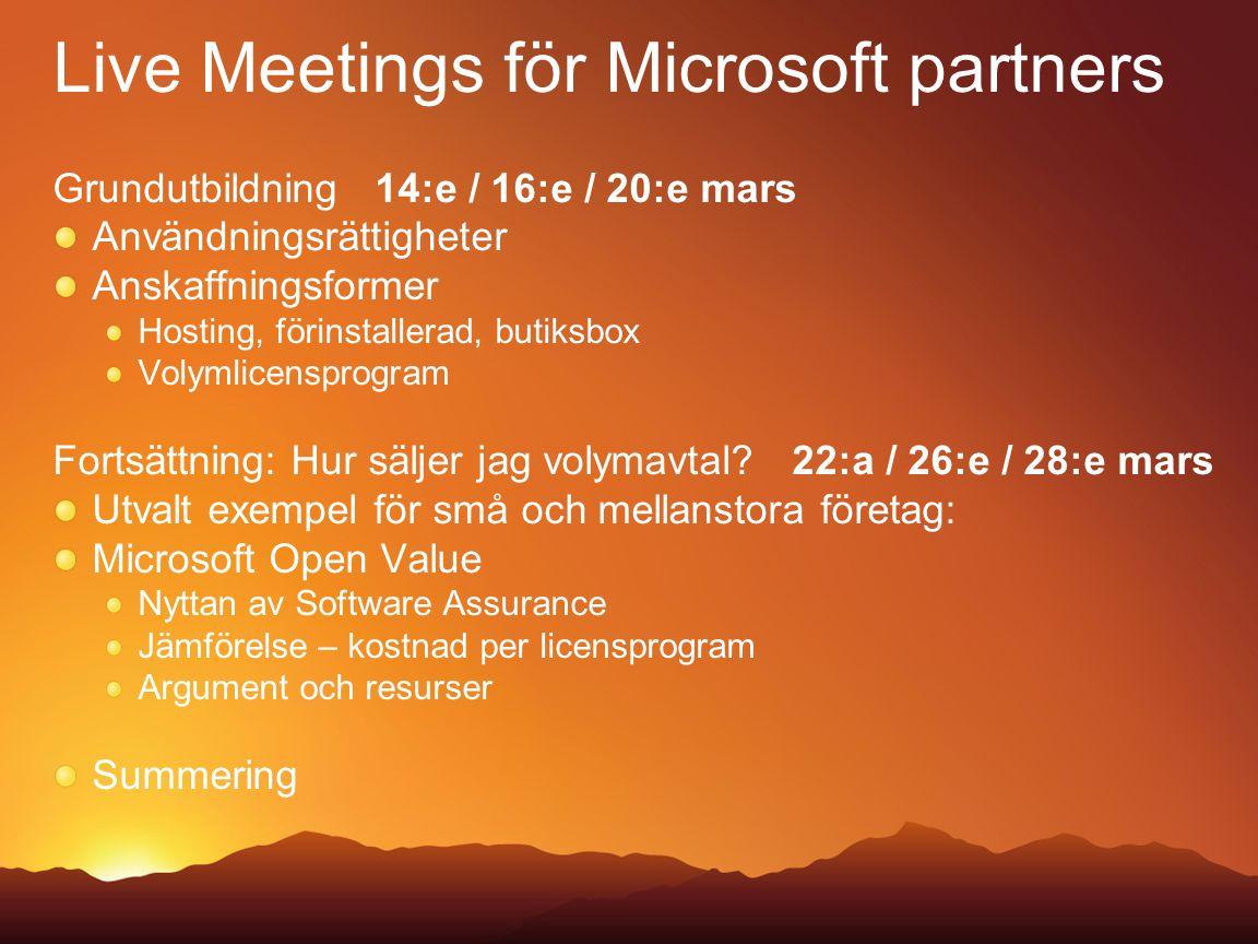 Live Meetings för Microsoft partners Grundutbildning 14:e / 16:e / 20:e mars Användningsrättigheter Anskaffningsformer Hosting, förinstallerad, butiksbox Volymlicensprogram Fortsättning: Hur säljer jag volymavtal.