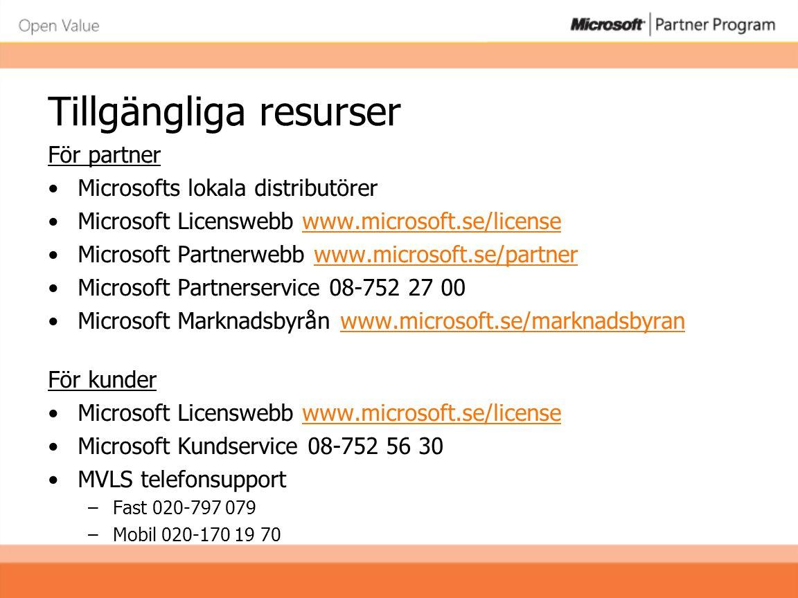 Tillgängliga resurser För partner •Microsofts lokala distributörer •Microsoft Licenswebb www.microsoft.se/licensewww.microsoft.se/license •Microsoft P