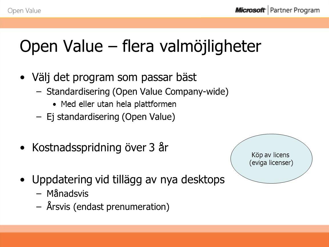 Open Value Subscription •Årlig prenumerationsavgift –Möjlighet till 50% aktualitetsrabatt (UTD) –Lägg till nya datorer (desktops) under året - utan kostnad •Räkna desktops vid årsavstämningen –Den årliga kostnaden baseras på antalet desktops –Ett färre antal desktops = lägre utgift för licenserna –Plattformsrabatt kan sänka kostnaden ytterligare •Förnya prenumerationen vart tredje år –Alternativ: köpoption för eviga licenser Prenumeration på licens