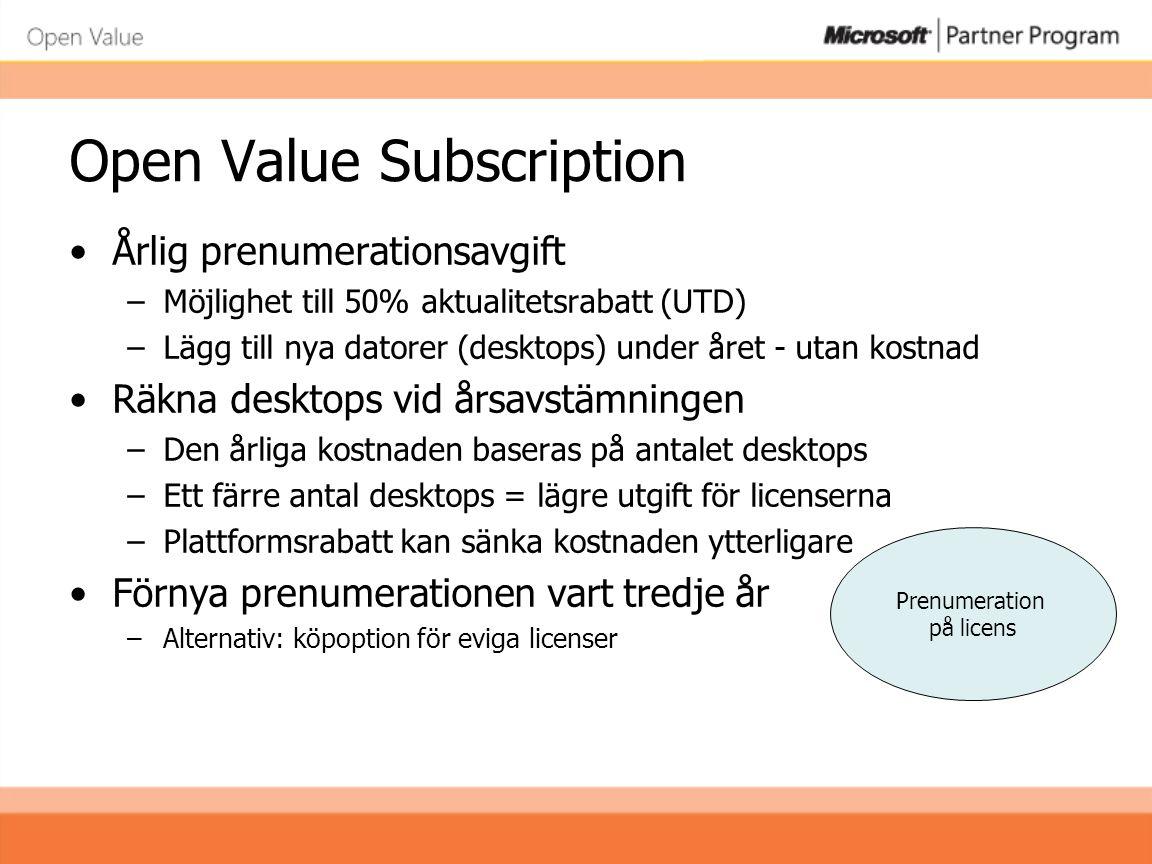 Open Value Subscription •Årlig prenumerationsavgift –Möjlighet till 50% aktualitetsrabatt (UTD) –Lägg till nya datorer (desktops) under året - utan ko