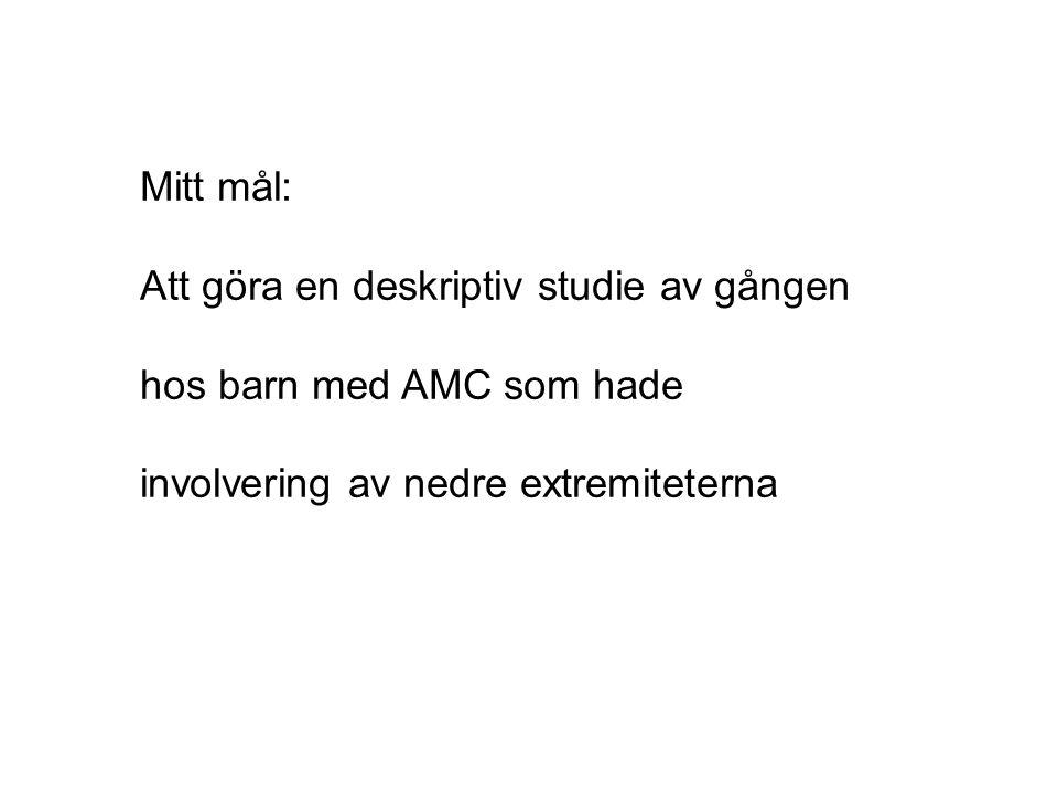 Mitt mål: Att göra en deskriptiv studie av gången hos barn med AMC som hade involvering av nedre extremiteterna