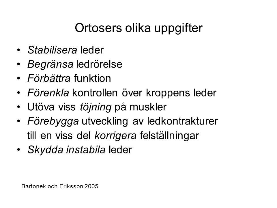 Ortosers olika uppgifter •Stabilisera leder •Begränsa ledrörelse •Förbättra funktion •Förenkla kontrollen över kroppens leder •Utöva viss töjning på m