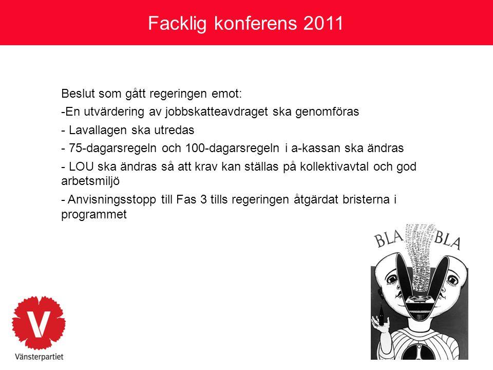 Facklig konferens 2011 Beslut som gått regeringen emot: -En utvärdering av jobbskatteavdraget ska genomföras - Lavallagen ska utredas - 75-dagarsregel