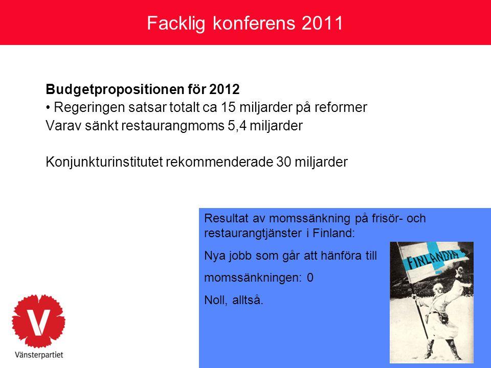 Facklig konferens 2011 Vad vill Vänsterpartiet göra istället.