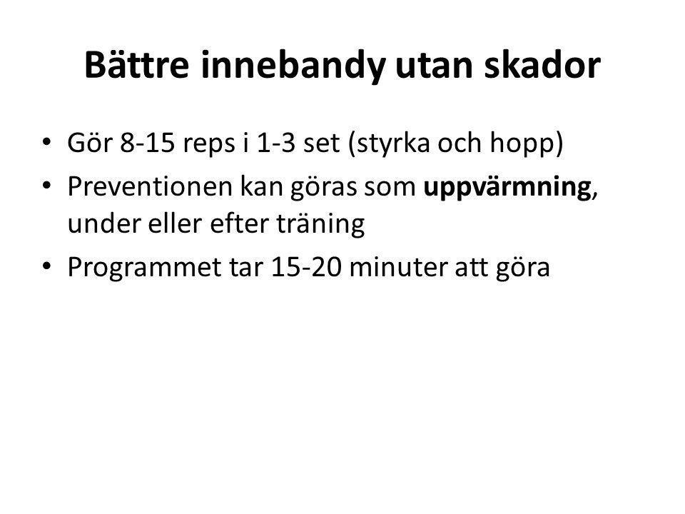 Bättre innebandy utan skador • Gör 8-15 reps i 1-3 set (styrka och hopp) • Preventionen kan göras som uppvärmning, under eller efter träning • Program