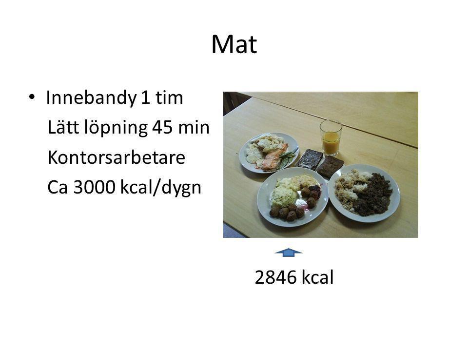 Mat • Innebandy 1 tim Lätt löpning 45 min Kontorsarbetare Ca 3000 kcal/dygn 2846 kcal