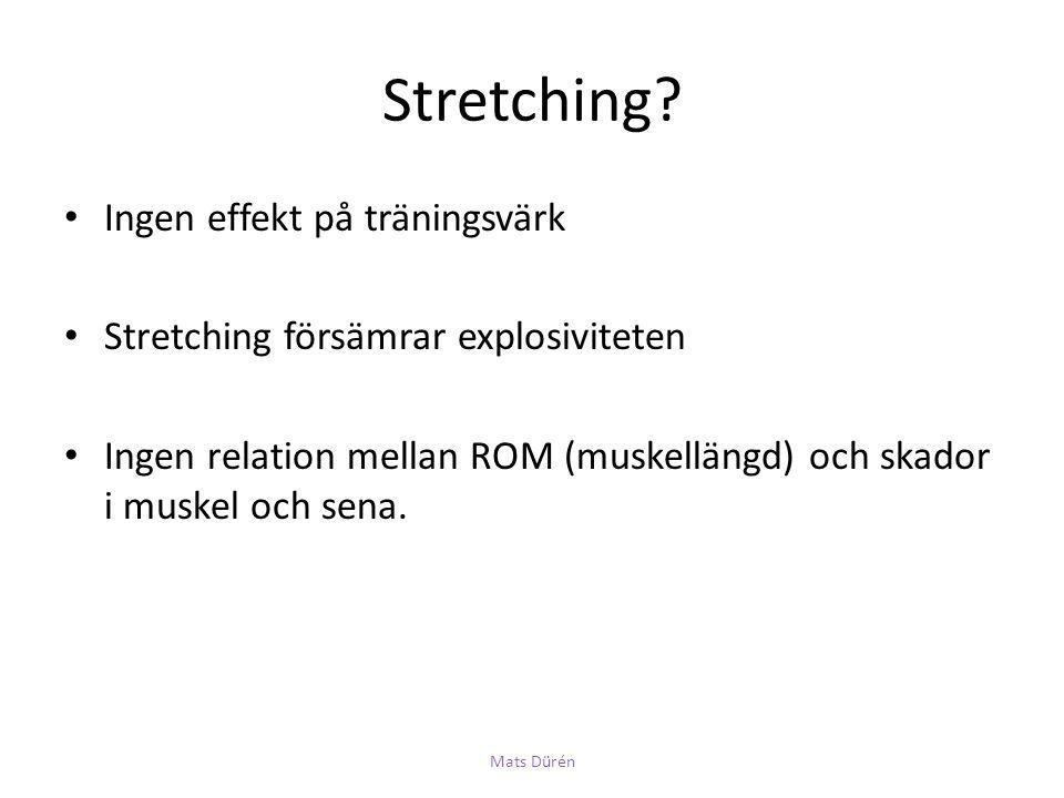 Stretching? • Ingen effekt på träningsvärk • Stretching försämrar explosiviteten • Ingen relation mellan ROM (muskellängd) och skador i muskel och sen