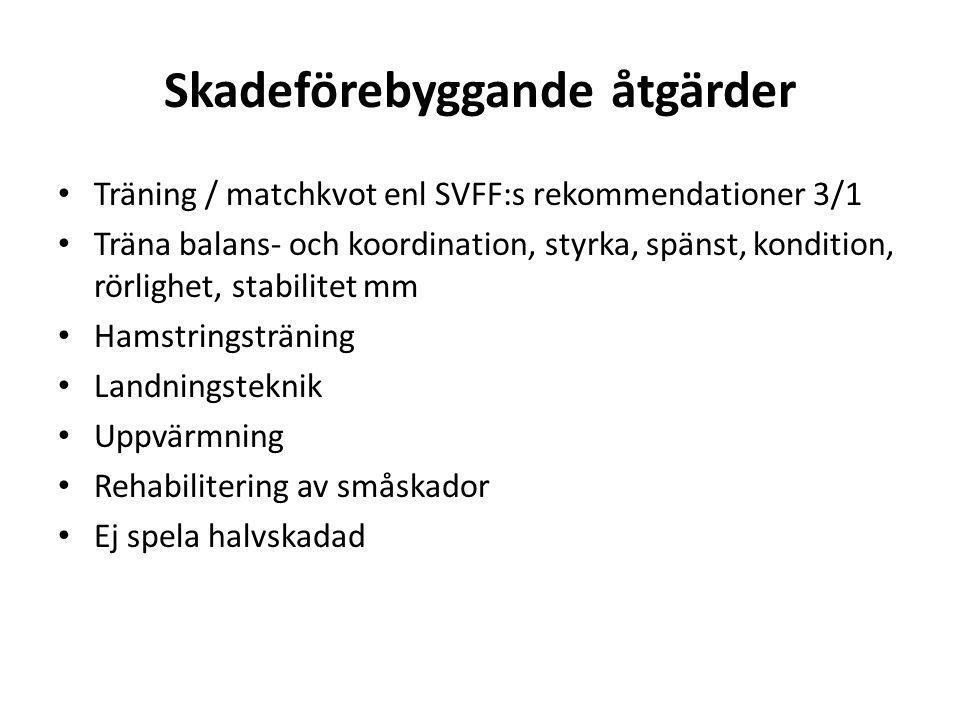 Skadeförebyggande åtgärder • Träning / matchkvot enl SVFF:s rekommendationer 3/1 • Träna balans- och koordination, styrka, spänst, kondition, rörlighe