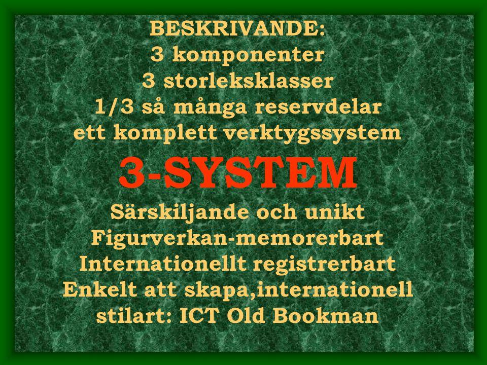 BESKRIVANDE: 3 komponenter 3 storleksklasser 1/3 så många reservdelar ett komplett verktygssystem 3-SYSTEM Särskiljande och unikt Figurverkan-memorerbart Internationellt registrerbart Enkelt att skapa,internationell stilart: ICT Old Bookman