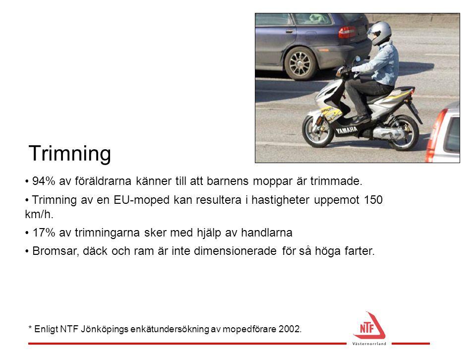 Trimning • 94% av föräldrarna känner till att barnens moppar är trimmade. • Trimning av en EU-moped kan resultera i hastigheter uppemot 150 km/h. • 17