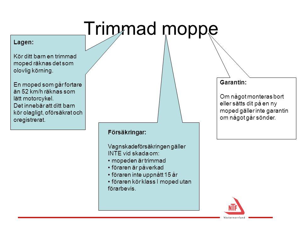 Trimmad moppe Garantin: Om något monteras bort eller sätts dit på en ny moped gäller inte garantin om något går sönder. Lagen: Kör ditt barn en trimma