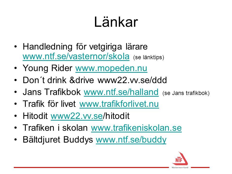 Länkar •Handledning för vetgiriga lärare www.ntf.se/vasternor/skola (se länktips) www.ntf.se/vasternor/skola •Young Rider www.mopeden.nuwww.mopeden.nu