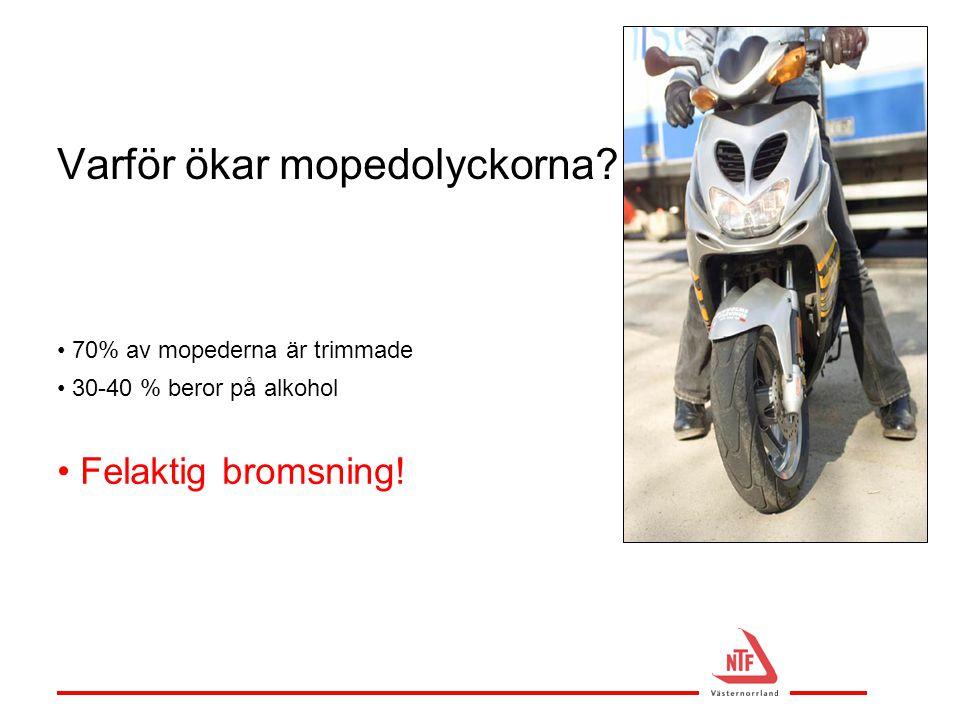 Varför ökar mopedolyckorna? • 70% av mopederna är trimmade • 30-40 % beror på alkohol • Felaktig bromsning!