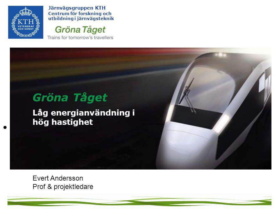 Järnvägsgruppen KTH Centrum för forskning och utbildning i järnvägsteknik • Evert Andersson Prof & projektledare Gröna Tåget Låg energianvändning i hög hastighet