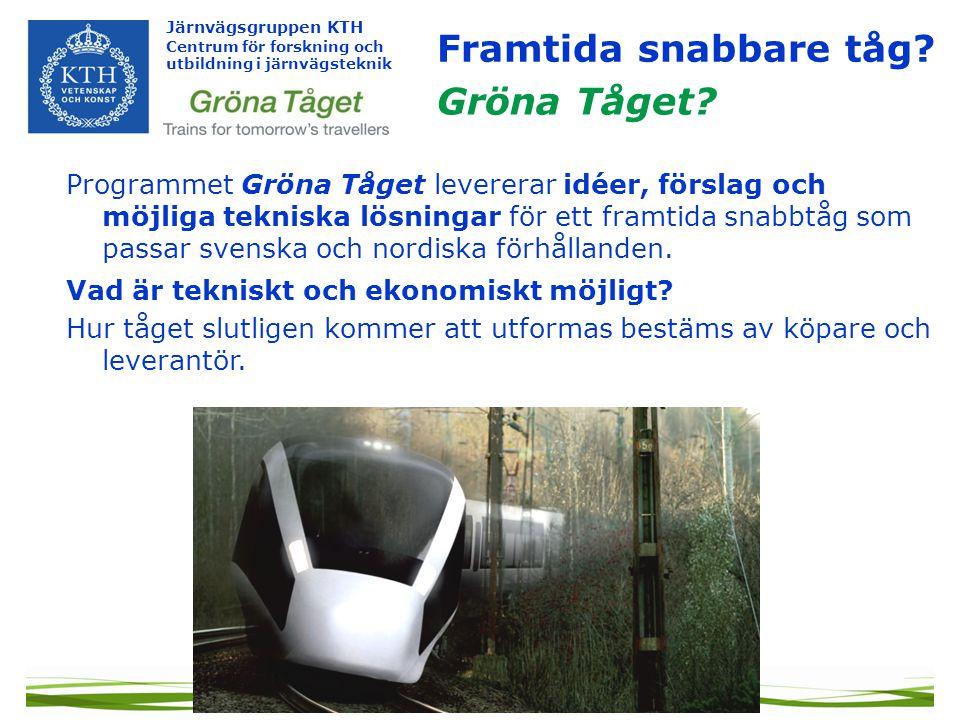 Järnvägsgruppen KTH Centrum för forskning och utbildning i järnvägsteknik Programmet Gröna Tåget levererar idéer, förslag och möjliga tekniska lösningar för ett framtida snabbtåg som passar svenska och nordiska förhållanden.