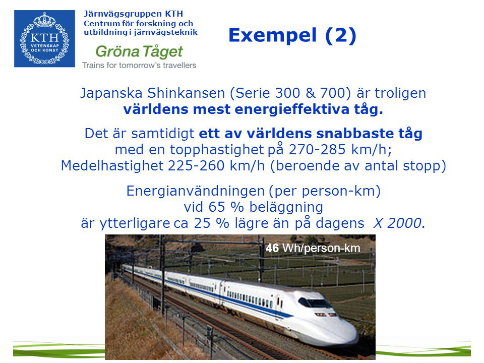 Järnvägsgruppen KTH Centrum för forskning och utbildning i järnvägsteknik Japanska Shinkansen (Serie 300 & 700) är troligen världens mest energieffektiva tåg.
