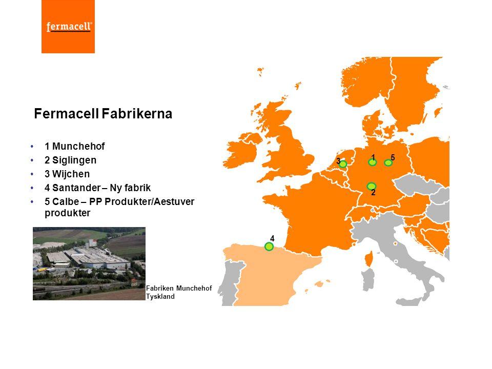 •1 Munchehof •2 Siglingen •3 Wijchen •4 Santander – Ny fabrik •5 Calbe – PP Produkter/Aestuver produkter Fermacell Fabrikerna 1 2 3 4 5 Fabriken Munch