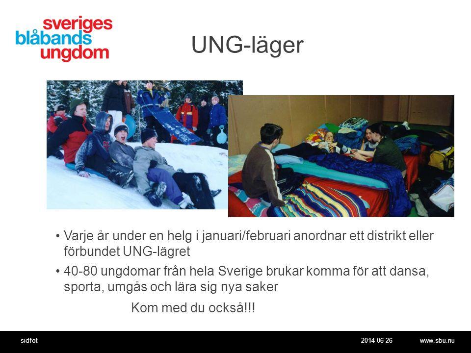 2014-06-26www.sbu.nusidfot UNG-läger •Varje år under en helg i januari/februari anordnar ett distrikt eller förbundet UNG-lägret •40-80 ungdomar från hela Sverige brukar komma för att dansa, sporta, umgås och lära sig nya saker Kom med du också!!!