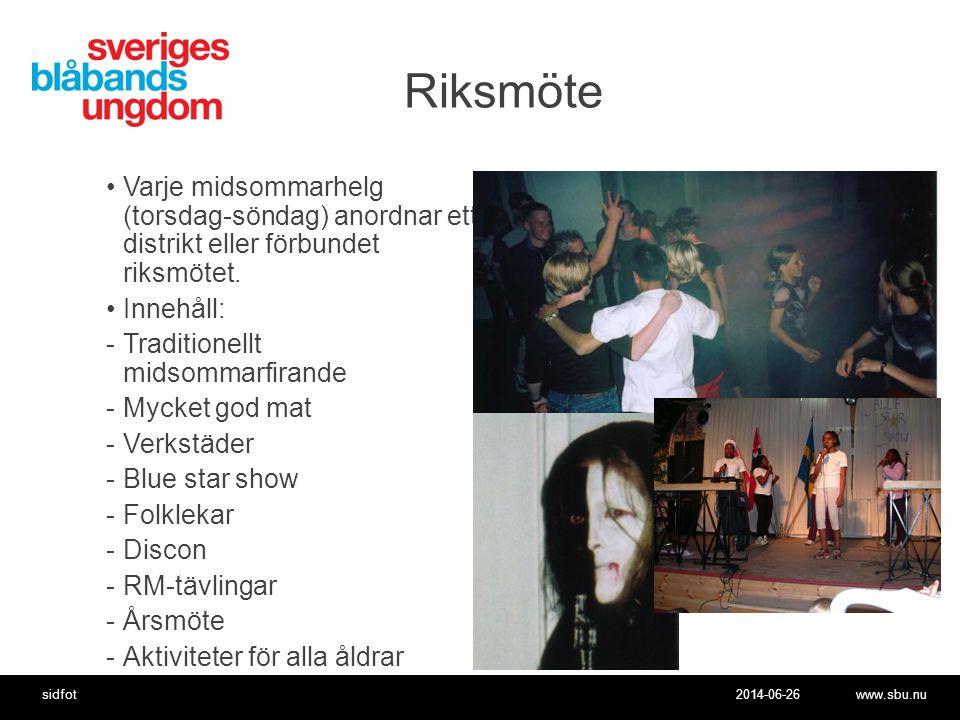 2014-06-26www.sbu.nusidfot Vision och uppdrag •Vision •Ett tryggt samhälle fritt från alkohol och andra droger där alla människor har lika värde •Uppdrag •Sveriges Blåbandsungdoms uppdrag är att uppmuntra ungdomar att ta ställning för nykterhet