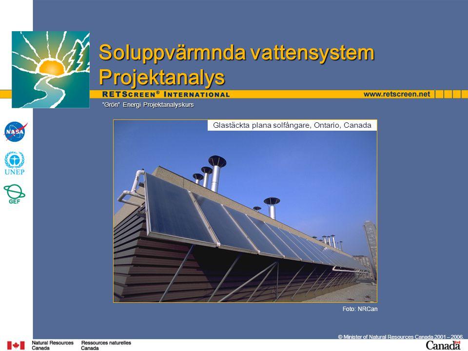 Grön Energi Projektanalyskurs © Minister of Natural Resources Canada 2001 – 2006.