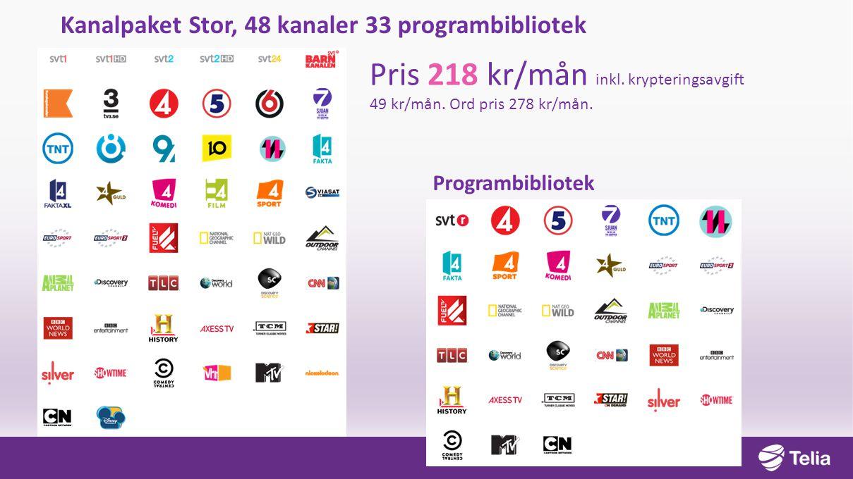 Kanalpaket Stor, 48 kanaler 33 programbibliotek Pris 218 kr/mån inkl. krypteringsavgift 49 kr/mån. Ord pris 278 kr/mån. Programbibliotek