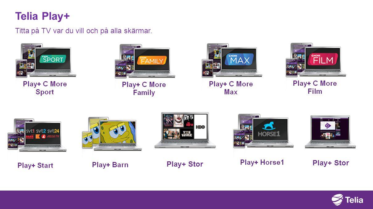 Telia Play+ Titta på TV var du vill och på alla skärmar. Play+ Stor