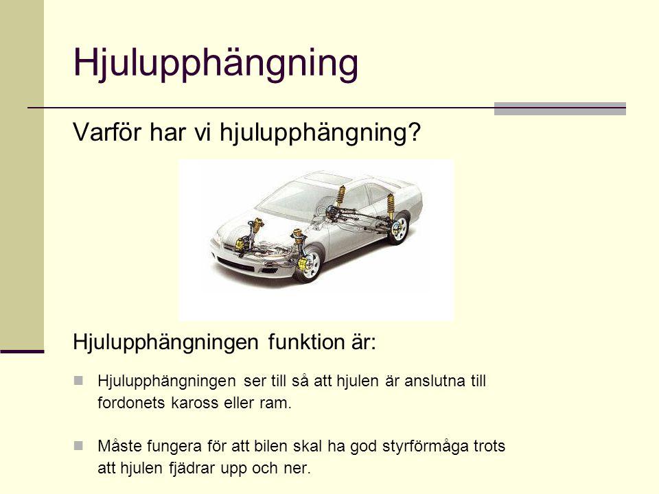 Hjulupphängning Varför har vi hjulupphängning? Hjulupphängningen funktion är:  Hjulupphängningen ser till så att hjulen är anslutna till fordonets ka