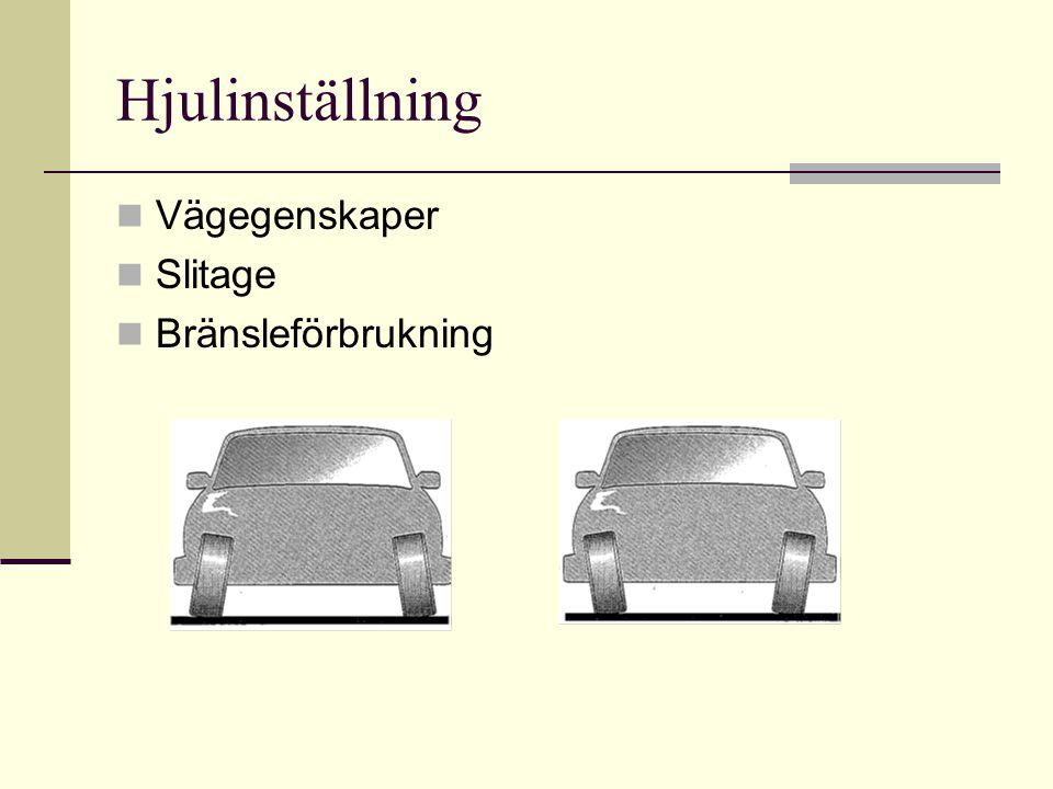 Hjulinställning  Vägegenskaper  Slitage  Bränsleförbrukning