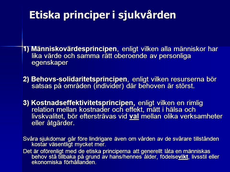 Etiska principer i sjukvården 1) Människovärdesprincipen, enligt vilken alla människor har lika värde och samma rätt oberoende av personliga egenskape
